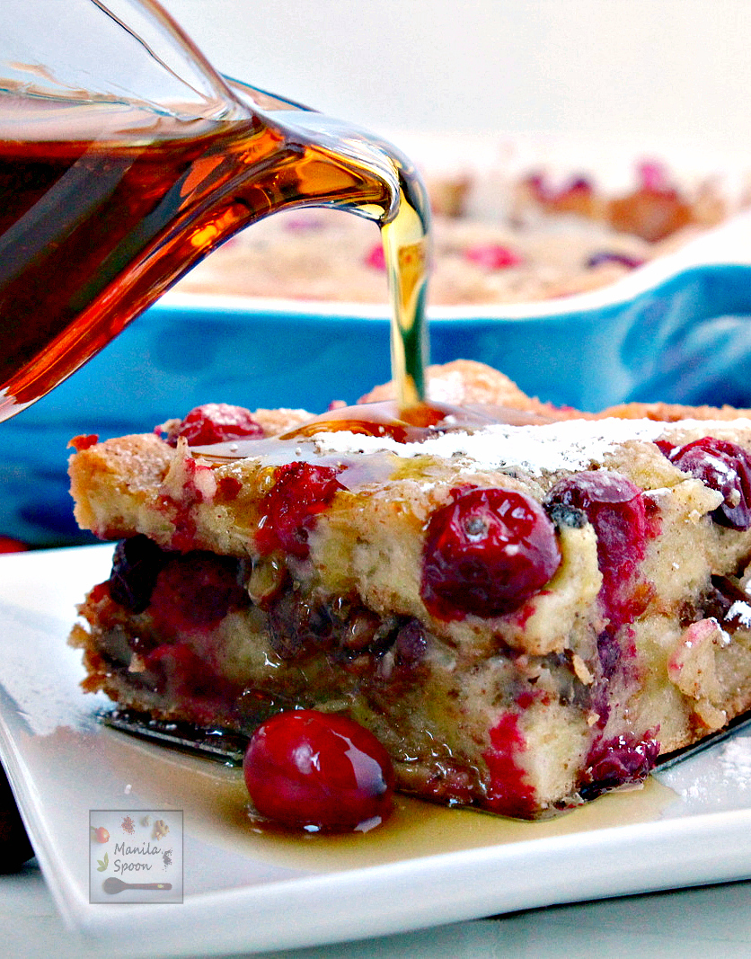 Overnight Cranberry Eggnog French Toast Casserole