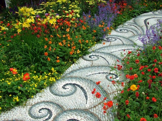 32-Amazing-Pebble-Garden-Paths-with-white-blue-brown-small-pebble-with-tribal-design-with-flower-decor