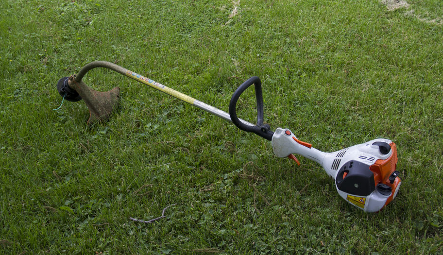40543069 - a gasoline powered string trimmer in the grass ready to be used.
