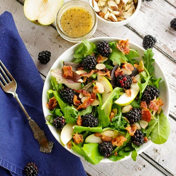 Anjou Pear & Blackberry Salad with a Warm Bacon Vinaigrette