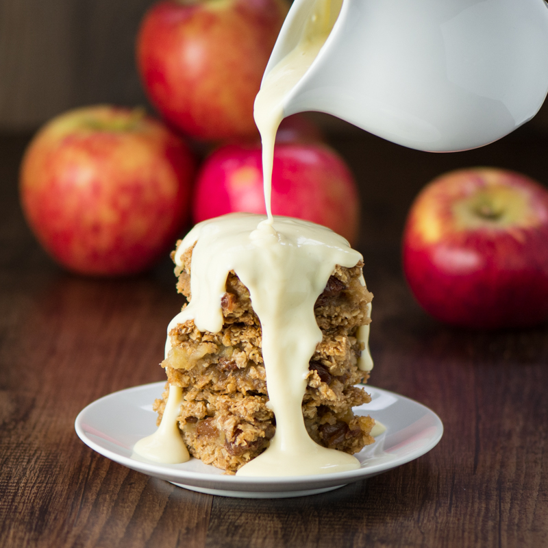 Apple Crumble Flapjack with Custard