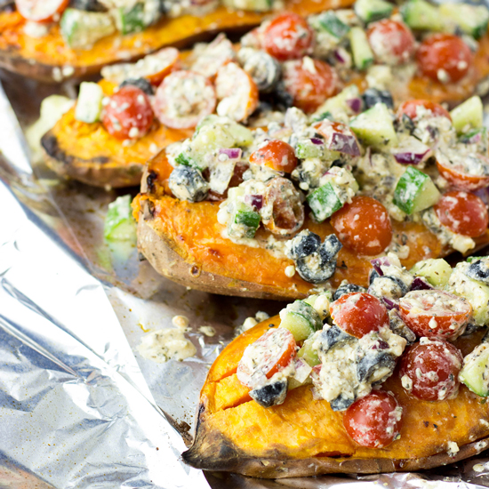 Baked Sweet Potatoes with a Five Star Feta Salad