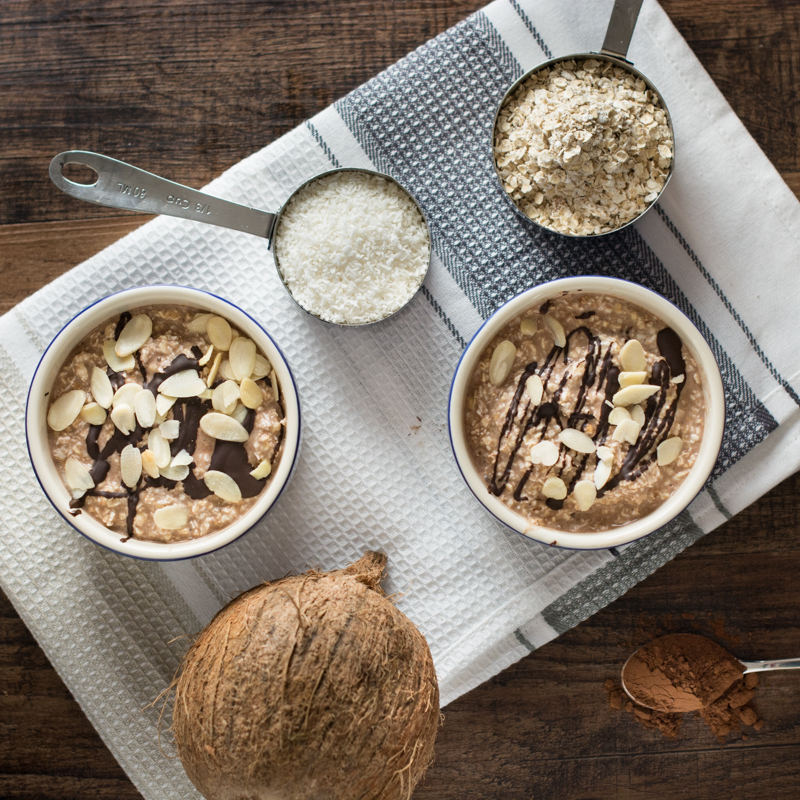 Coconut and chocolate overnight oats ingredients