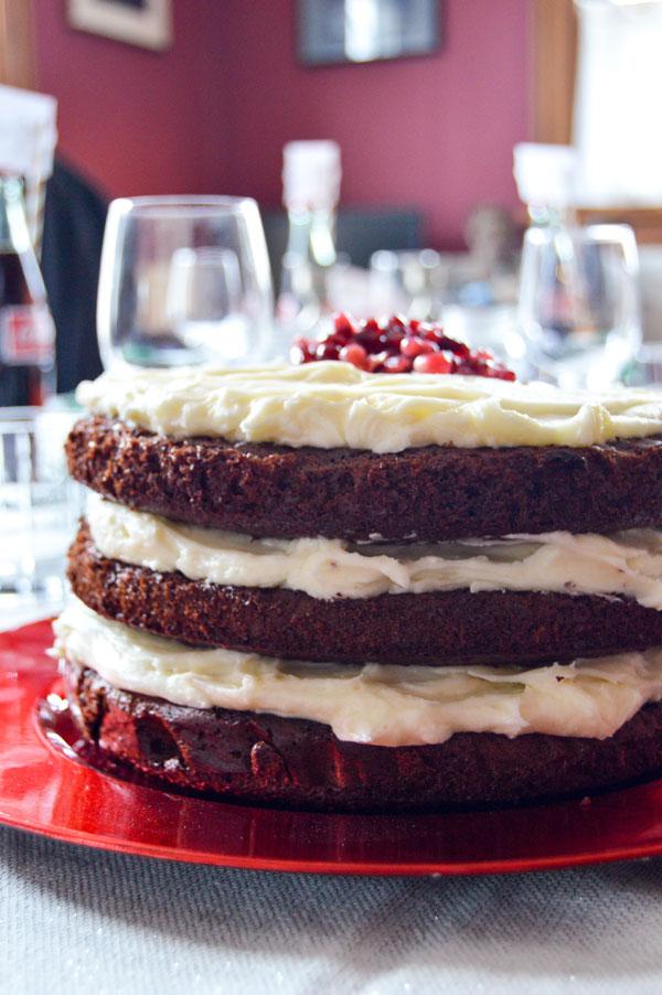 Chocolate Cake with Mascarpone Pomegranate Frosting