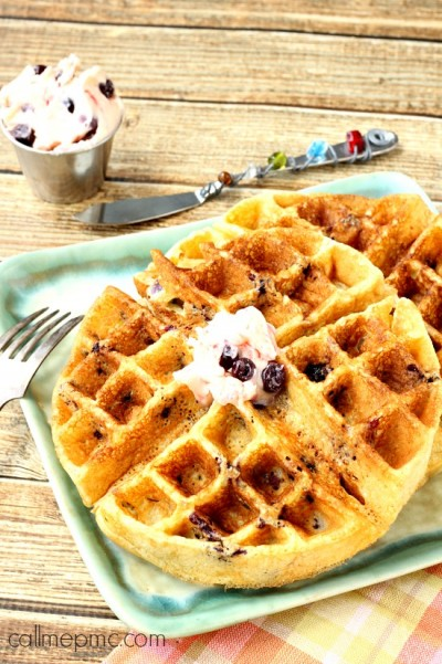 Cornmeal Blueberry Waffles with Blueberry Butter wm