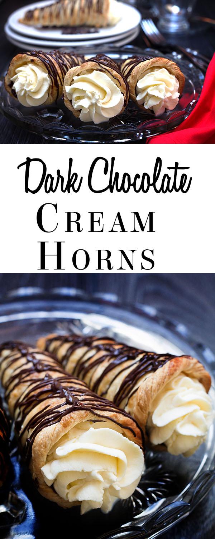 dark chocolate cream horns