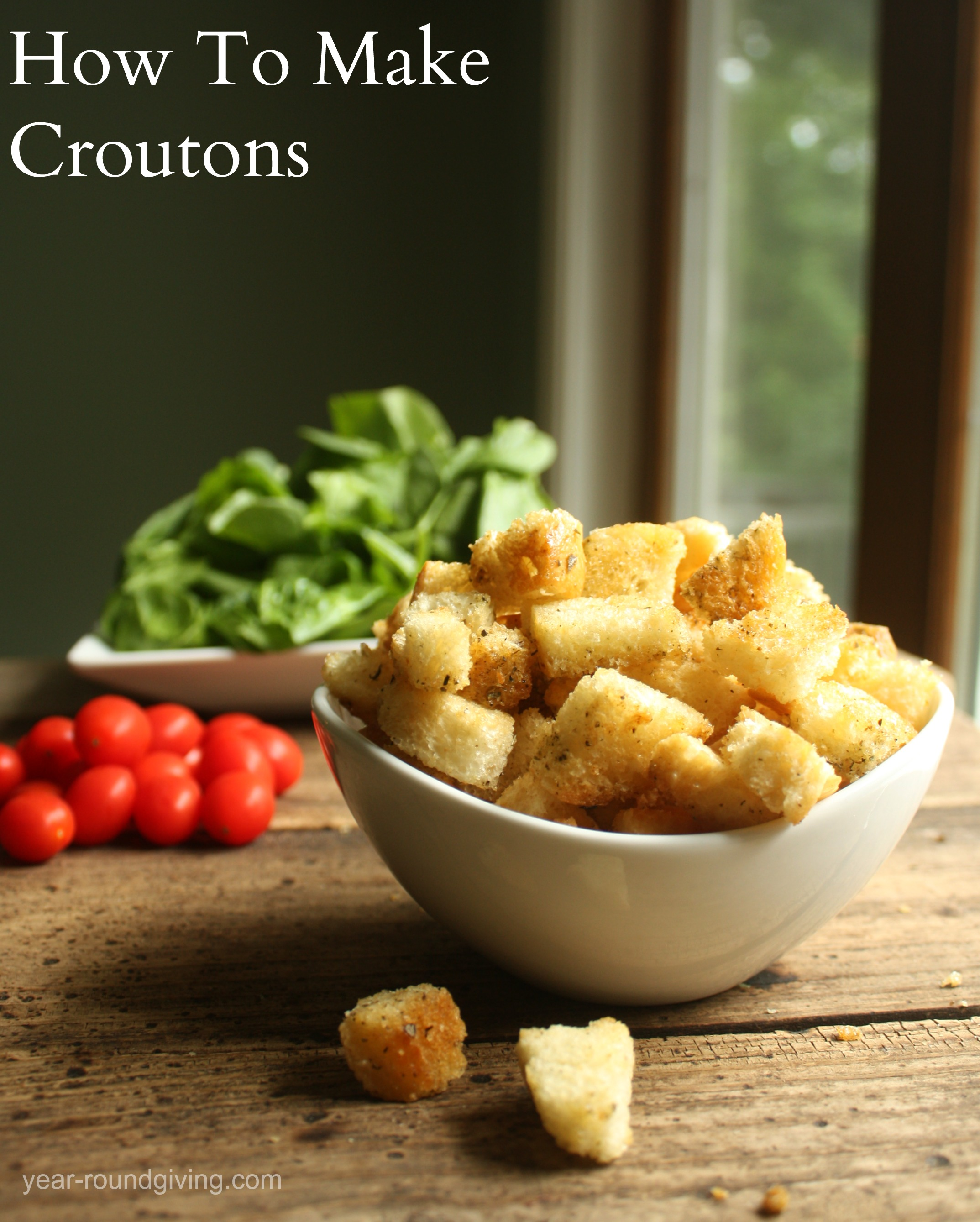 Croutons with text