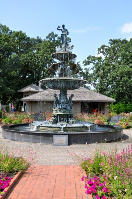 Clemens Garden rest area fountain