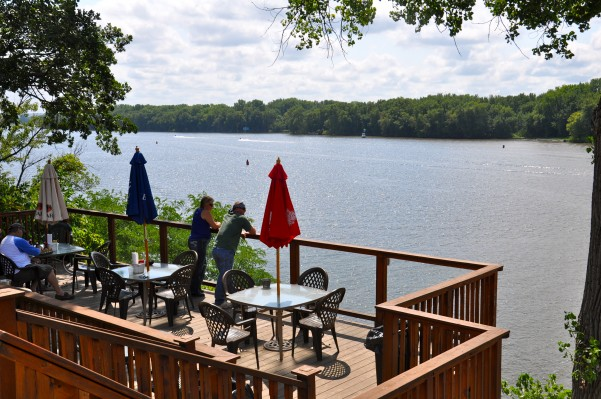 Deck overlooking the Mississippi River at the Nauti Hawg, Diamond Bluff, WI