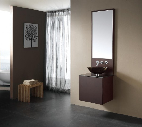 Enchanting-bathroom-vanity-unit-With-Wall-Mounted-Bath-Faucet-And-Kingston-Brass-Bathroom-Sink-Also-Daltile-Porcelain-and-tall-mirror-plus-wooden-seat-with-towels
