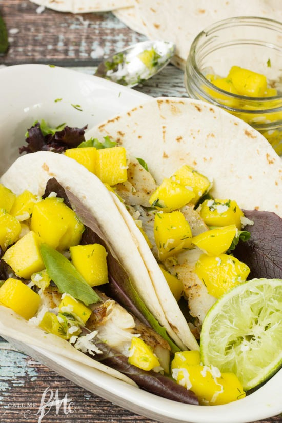 Fish Tacos with Mango Lime Coconut Salsa 2w