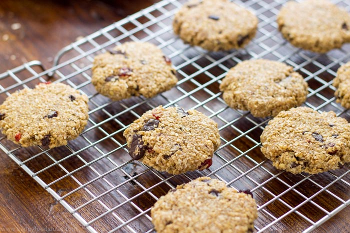 Flourless-Chocolate-Oatmeal-Cookies-on-Wire-Rack