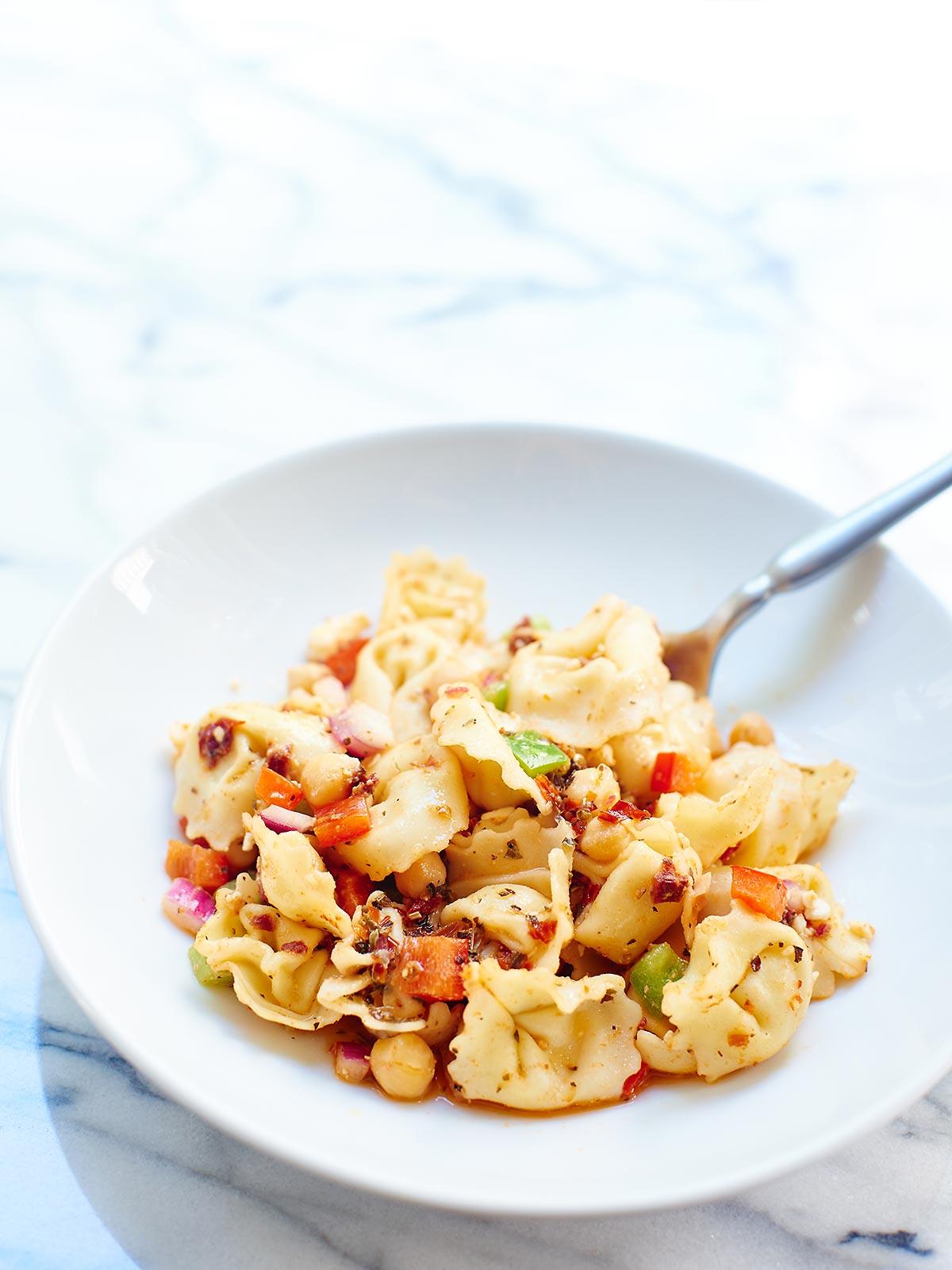 Greek-Tortellini-Pasta-Salad-Fork