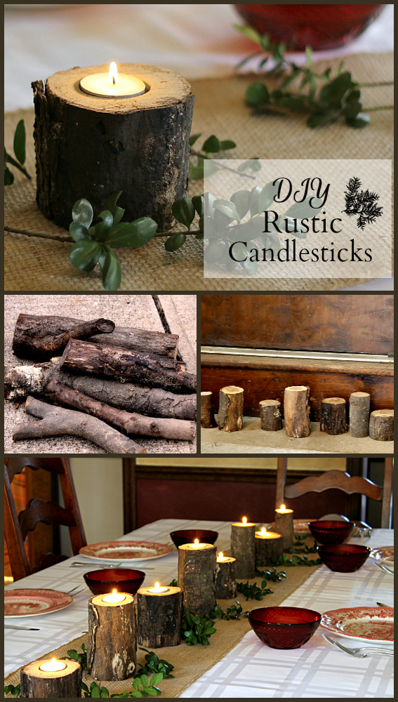 How to Make Rustic Candlesticks pin ~ gardenmatter.com