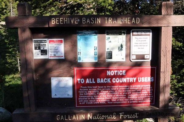 beehive basin trailhead sign