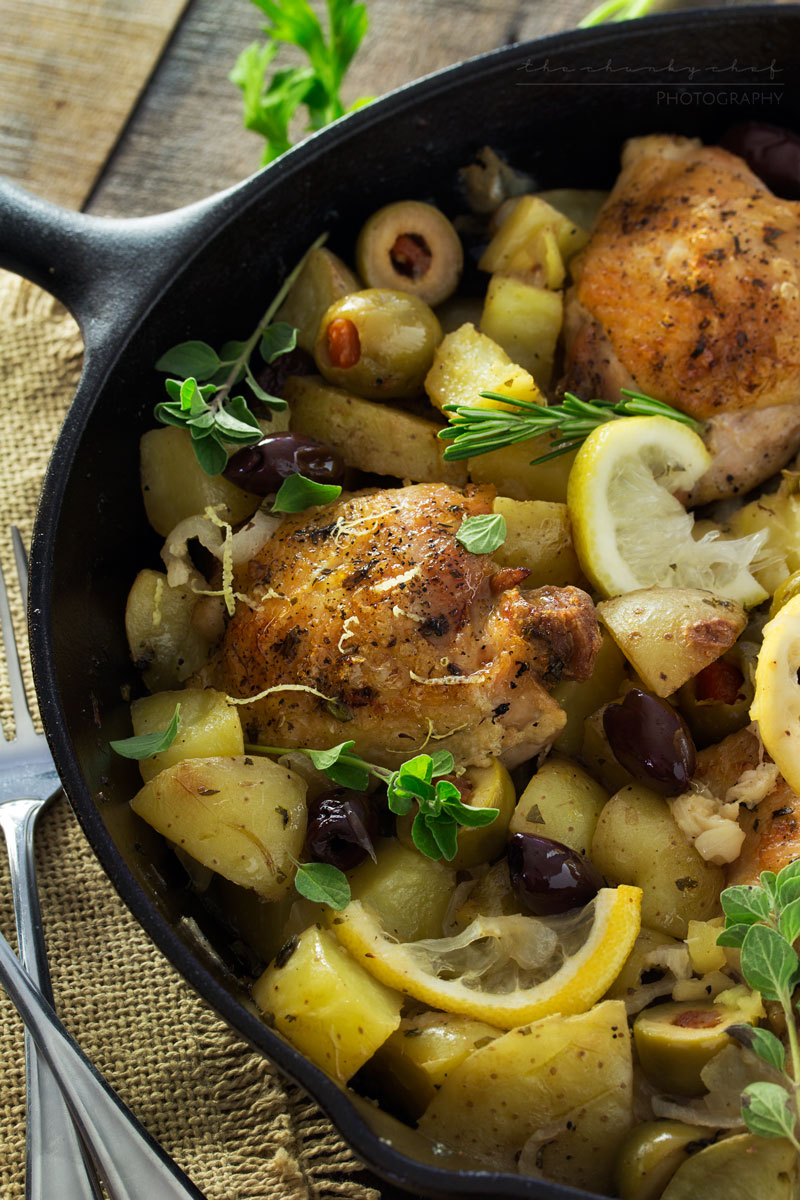 One Pan Mediterranean Braised Chicken with Potatoes and Olives