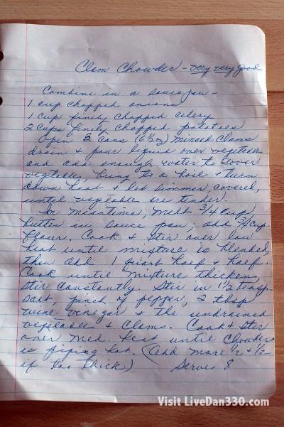 great grandma's clam chowder recipe