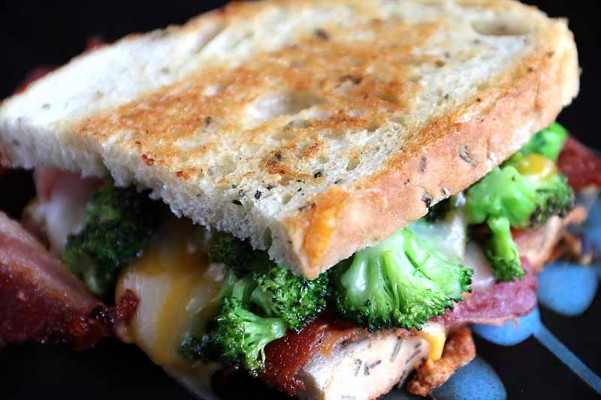 cheese broccoli bacon grilled cheese