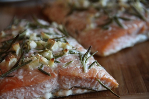 Baked Salmon with Rosemary Garlic Olive Oil.