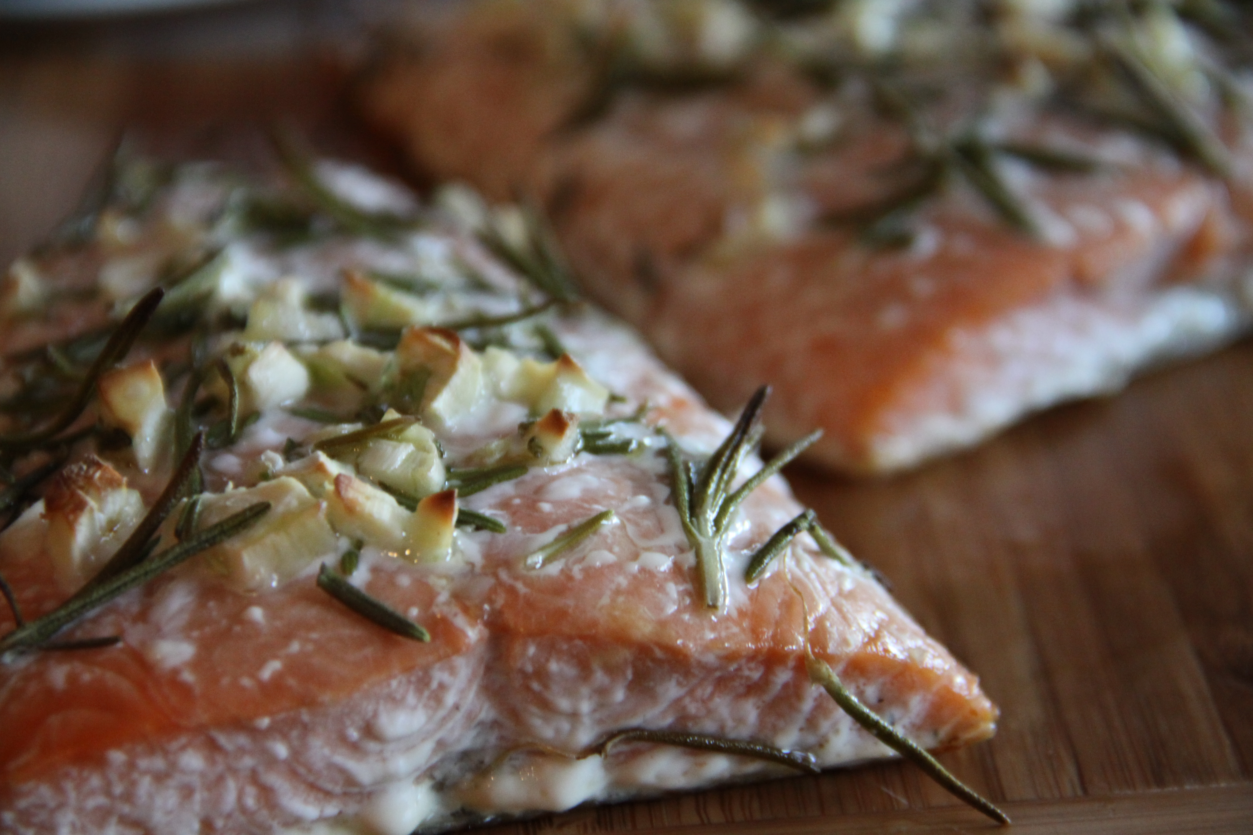 Baked Salmon with Rosemary, Garlic and Olive Oil