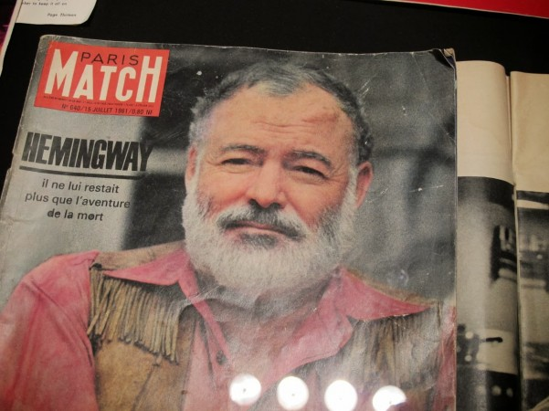 Ernest Hemingway is featured in an old Paris magazine on display at the Museo del Encierro.