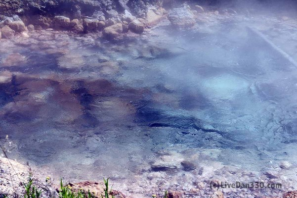 Boiling water at Artists Paint Pots in Yellowstone National Park