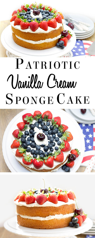 Patriotic Vanilla Cream Sponge Cake pin