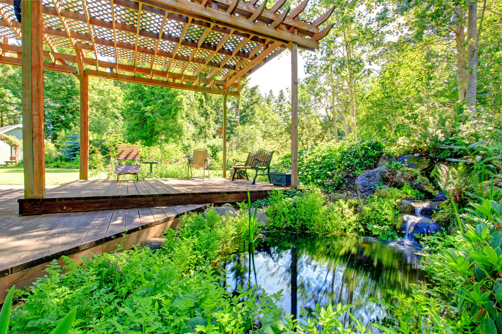 Why to include outdoor pergola in your garden dan330 for Design of farm pond pdf