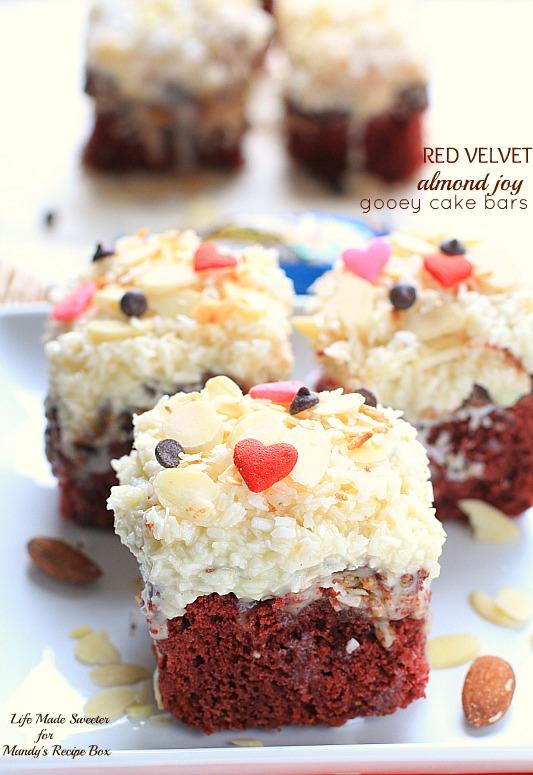 Red Velvet Almond Joy Gooey Cake Bars Dan330