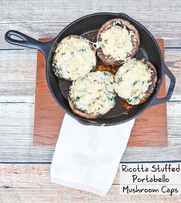 Ricotta Spinach Stuffed Portobello Mushroom Caps Recipe