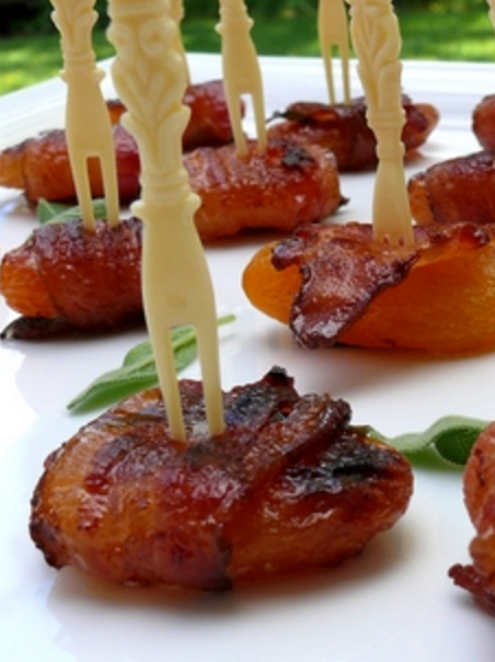 bacon wrapped apricot with sage