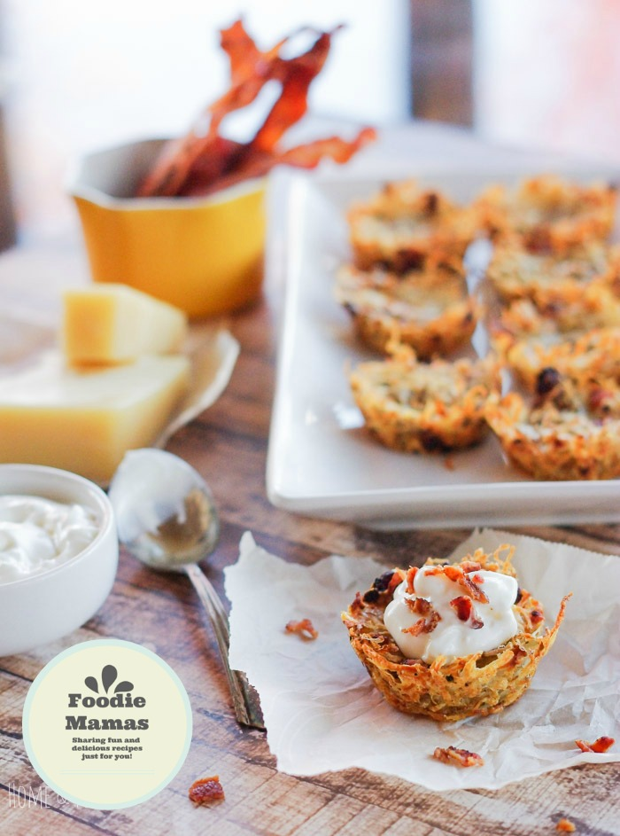 Shredded Tater Cupcakes with Gruyere and Bacon