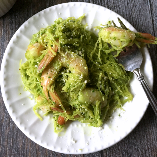 Spaghetti Squash with Spinach Walnut Pesto