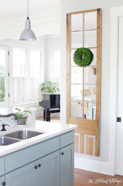 The-Lettered-Cottage-Kitchen-French-Door-Mirror-Boxwood-Wreath-Heather-Gray-Island-Gray-Owl-Walls-Lightened-by-50-Percent1