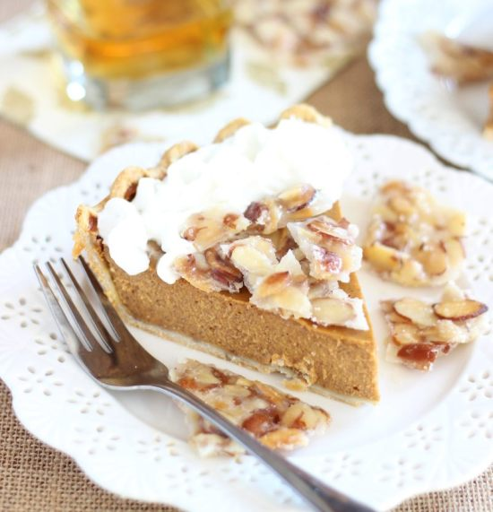 amaretto pumpkin pie with almond brittle