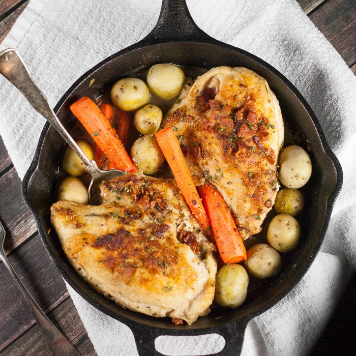Skillet Chicken With Roasted Potatoes Carrots Recipe