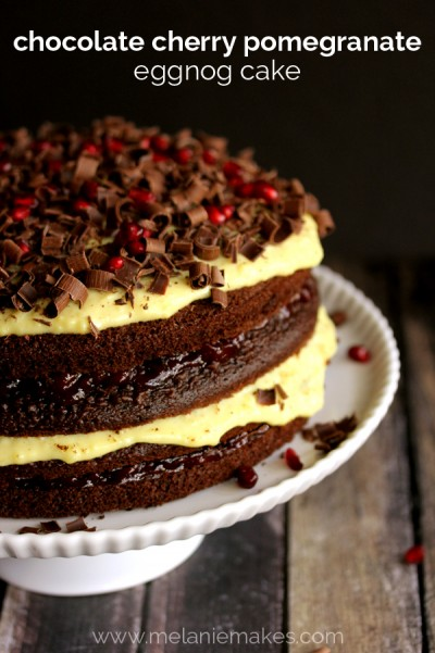 chocolate cherry pomegranate eggnog cake mm