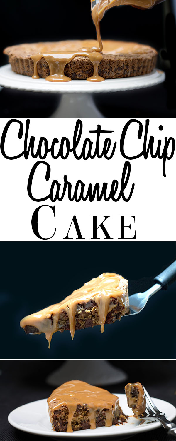 chocolate chip caramel cake pin