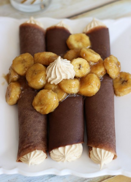 chocolate crepes with peanut butter marshmallow filling and caramelized bananas 10