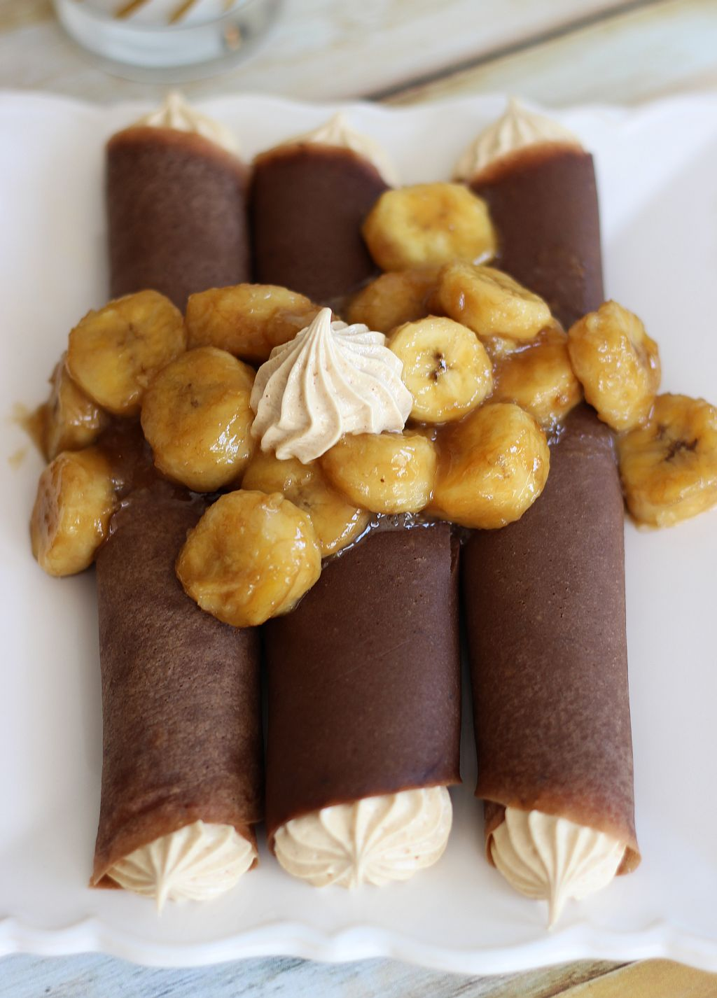 chocolate crepes with a marshmallow and peanut butter filling and