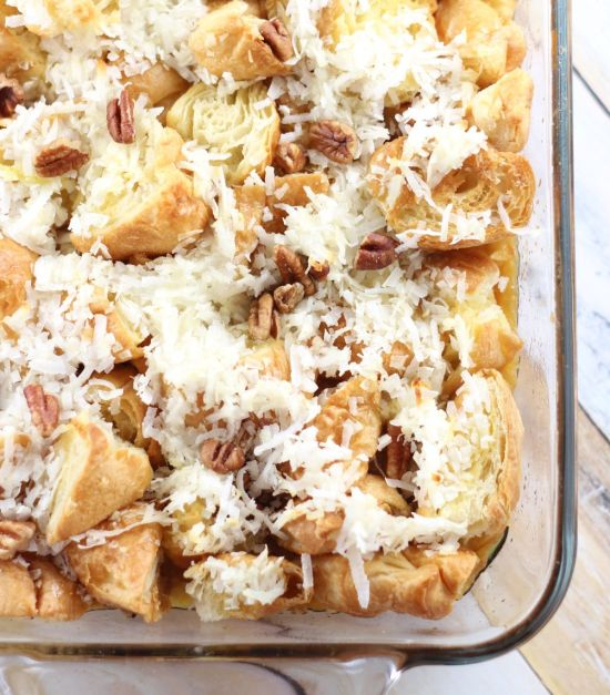 coconut rum banana upside down croissant french toast casserole 7