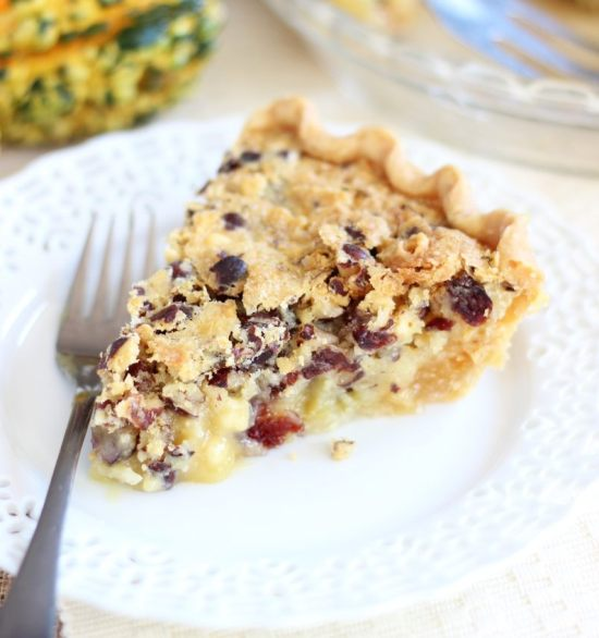 cranberry white chocolate hazelnut pie