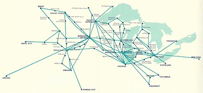 North Central Airlines Route Structure in the 1970's