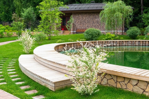 Landscaping in home garden