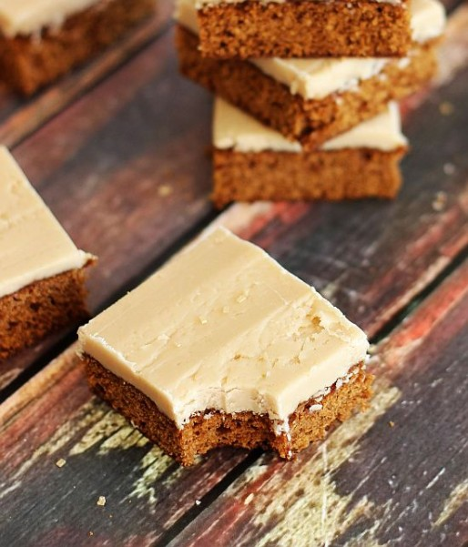 gingerbread bars with maple brown sugar frosting 15