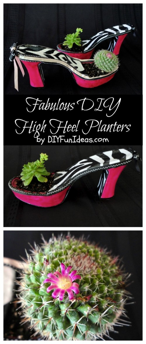 high heel planter collage