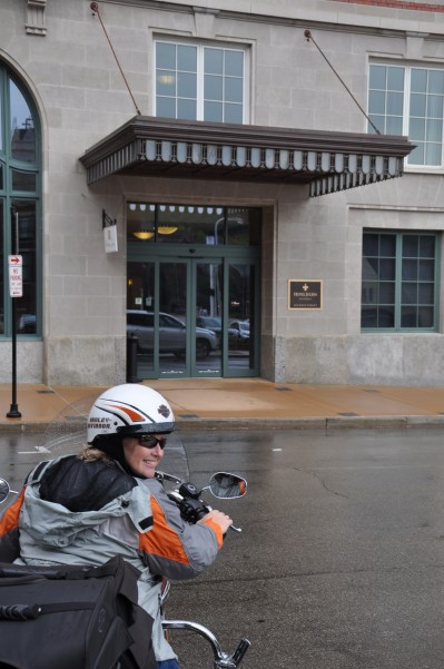 After a very wet ride, we arrive at the Hotel Julien, Dubuque,IA