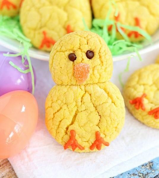 lemon cake mix cookie easter chicks 9