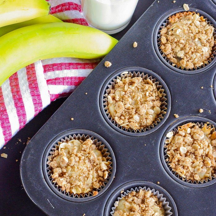 Moist Banana Muffins With A Streusel Topping