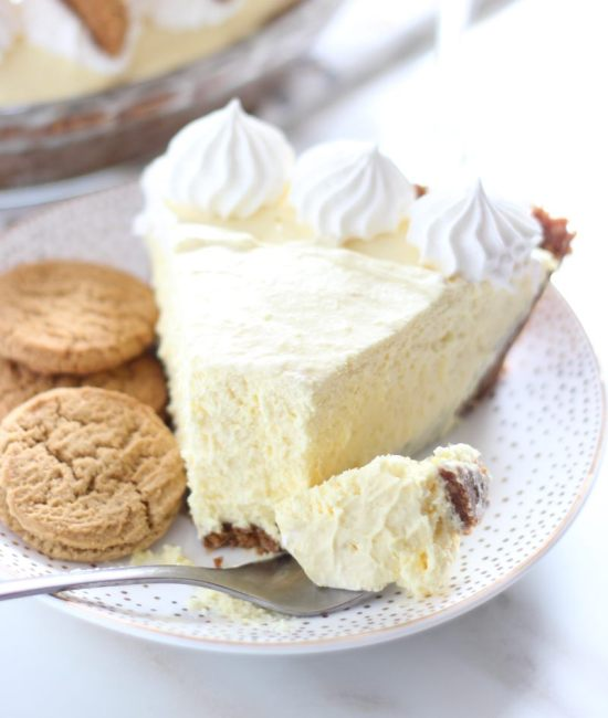 no bake eggnog cheesecake with gingersnap crust